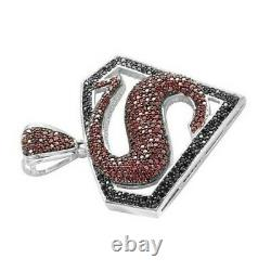 Sterling Silver 925 Fully Iced Out Black & Ruby Superman Logo Diamond Pendentif