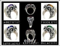 Sterling Silver Bighorn Baphomet Grenat Bague -tous Chèvre Ram Diable Tailles-lucifer