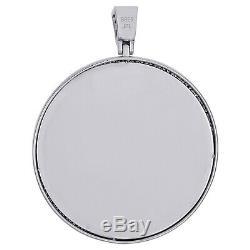 Sterling Silver Diamond Medallion Image Mémoire Cadre Pendentif 2.3 Charme 1/2 Ct