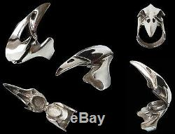Sterling Silver Raven Crâne D'oiseau Poison Médaillon Anneau Toutes Les Tailles Compartiment Secret