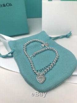 Tiffany & Co 925 En Argent Massif Coeur Tag Bracelet Avec Boîte, Sac, Pochette