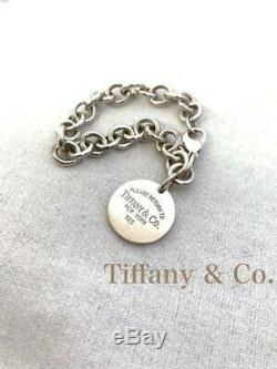 Tiffany & Co. Bracelet S'il Vous Plaît Retour À La Argent 925 Charm Ronde Tag