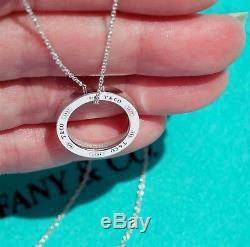Tiffany & Co En Argent Sterling 1837 Charm Moyen Cercle Ronde Collier Pendentif 16