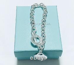 Tiffany & Co. En Argent Sterling Coeur Tag Bracelet À Breloque Avec La Boîte