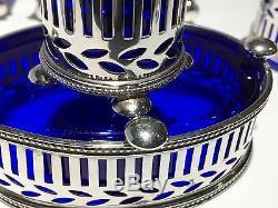 Tiffany & Co. Makers - Salière Et Salière En Argent Sterling Avec Verre Au Cobalt