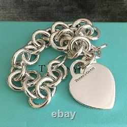Tiffany & Co Sterling Silver Blank Heart Tag Charm Bracelet Avec Boîte