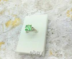 Uranium Glass Square 925 Sterling Silver Ring Taille 7