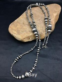 Vente Cadeau 36po Long Navajo Collier De Perles En Argent Sterling Amérindien 3099