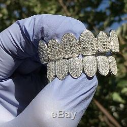 Véritable Argent 925 Grillz Cz Micro Pave Iced Bling Pre-made Grills Set