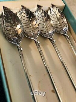 Véritable Vintage © Tiffany & Co. Set 4 Sterling Feuille Cocktail Paille Agitateur Cuiller
