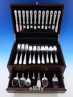 Vieux Maryland Gravé Par Kirk Sterling Silver Flatware Set Pour 12 Service 55 Pcs