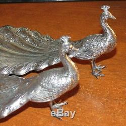 Vintage Durgin Peacock Silver Sterling 9 1/2 Bon Bon Dish Vers 1920 Beaut