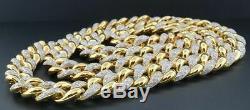 Vrai Diamant Miami Cuban Chain Hommes En Argent Sterling 11mm Collier Lien 8 Ct