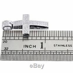 Vrai Diamant Pendentif Croix Mini Jésus. Argent 925 Charm Pave 0.33 Ct